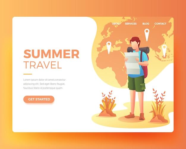 Strona docelowa kogoś, kto chce wyjechać na wakacje Premium Wektorów