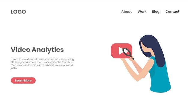 Strona docelowa koncepcji analizy wideo Premium Wektorów