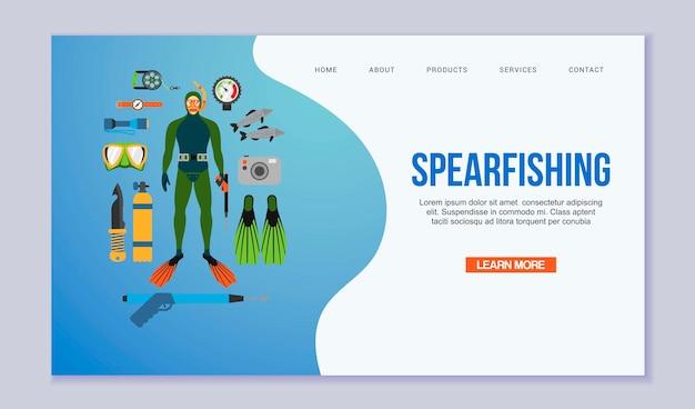 Strona docelowa łowiectwa podwodnego i nurkowania. płetwonurek w kostiumie do nurkowania i płetwach, ryby, sprzęt do łowiectwa podwodnego. pływanie pod wodą szablon sieci web. Premium Wektorów