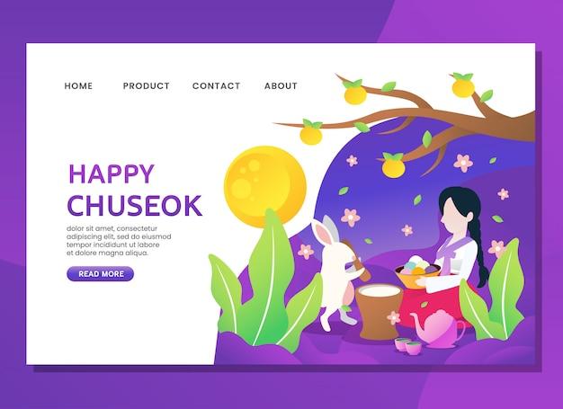Strona docelowa lub szablon internetowy. szczęśliwy chuseok z kobietą siedzą z królikiem Premium Wektorów