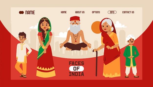 Strona docelowa lub szablon internetowy z motywem indyjskim. ludzie w tradycyjnych strojach ludowych. medytuje stary człowiek jogin w lotosu jogi. Premium Wektorów