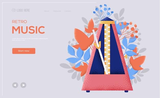 Strona Docelowa Muzyki Retro Premium Wektorów