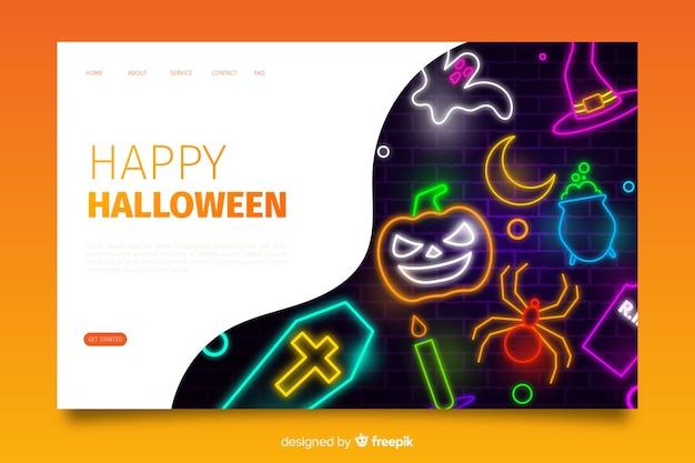Strona docelowa neon halloween Darmowych Wektorów