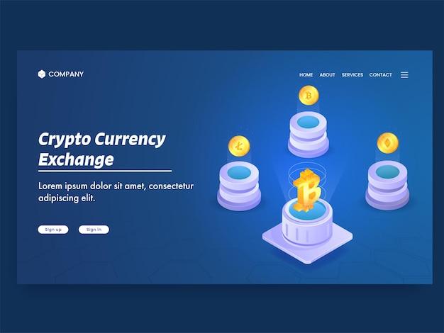 Strona Docelowa Oparta Na Koncepcji Wymiany Walut Kryptograficznych Premium Wektorów