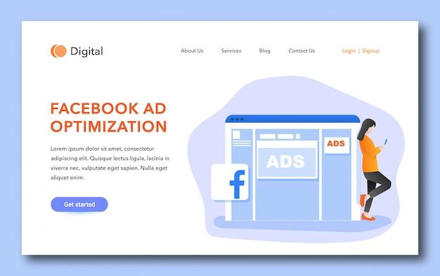 Strona docelowa optymalizacji reklam na facebooku Premium Wektorów