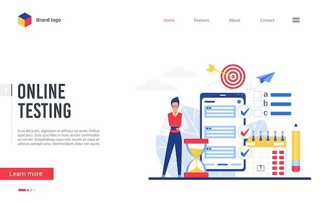 Strona Docelowa Platformy Testowej Online, Mężczyzna Używa Aplikacji Na Telefon Do Ankiety Egzaminacyjnej Premium Wektorów