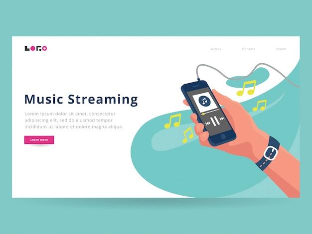 Strona docelowa przesyłania strumieniowego muzyki Premium Wektorów
