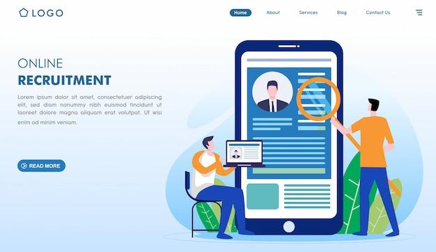 Strona docelowa rekrutacji online w stylu płaskiej Premium Wektorów