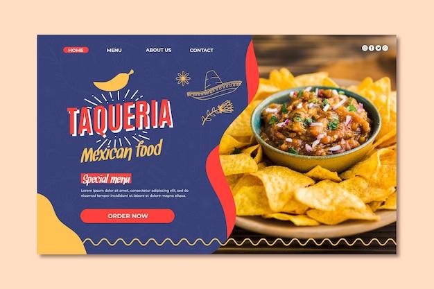 Strona Docelowa Restauracji Meksykańskiej Premium Wektorów