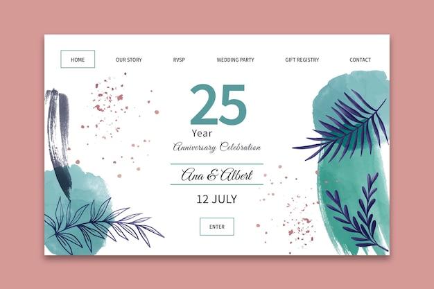 Strona Docelowa Rocznicy ślubu Premium Wektorów