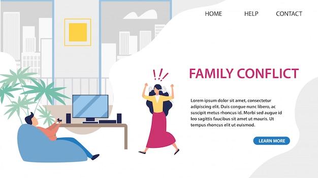 Strona Docelowa Rozwiązywania Konfliktów Rodzinnych Przez Usługę Premium Wektorów