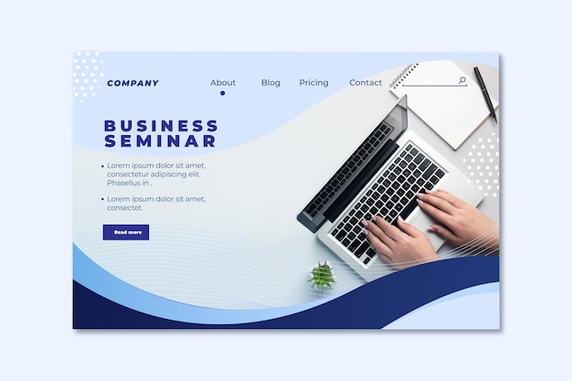 Strona Docelowa Seminarium Biznesowego Darmowych Wektorów