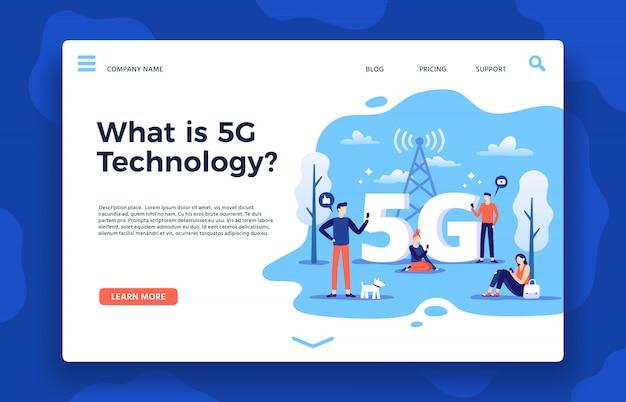Strona Docelowa Sieci 5g. Szybki Internet, Szybkie Połączenie Bezprzewodowe I Sieci Piątej Generacji Ilustracji Wektorowych Premium Wektorów