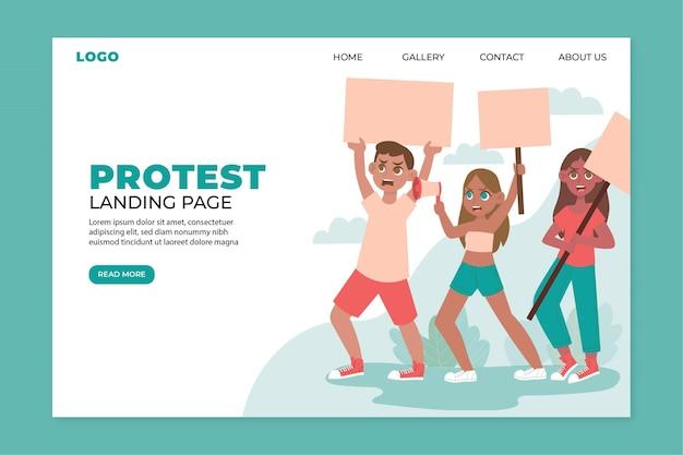 Strona Docelowa Strajku Protestacyjnego Darmowych Wektorów