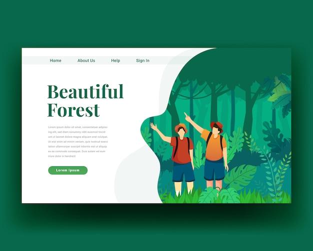 Strona docelowa strona docelowa spaceru po dwóch postaciach w lesie z plecakiem Premium Wektorów