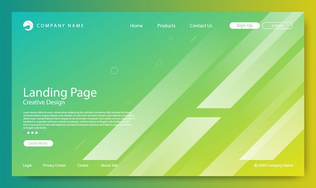 Strona docelowa strona gradient kolor tła Premium Wektorów
