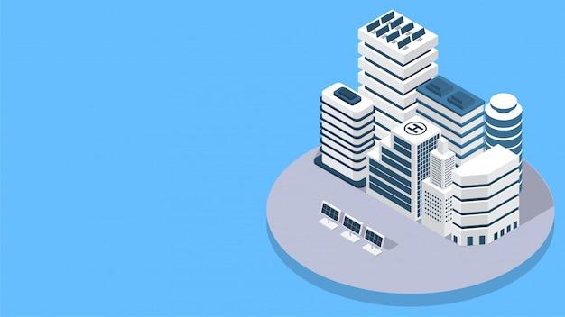 Strona docelowa strony z widokiem izometrycznym nieruchomości. Premium Wektorów