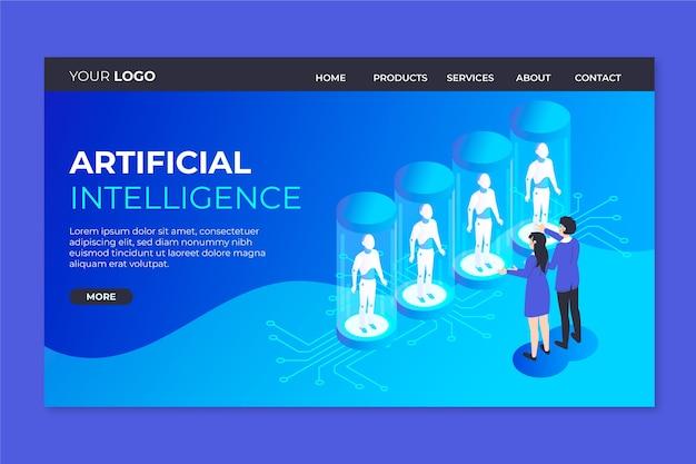 Strona docelowa szablonu sztucznej inteligencji Darmowych Wektorów