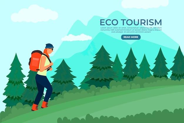 Strona Docelowa Szablonu Turystyki Ekologicznej Darmowych Wektorów
