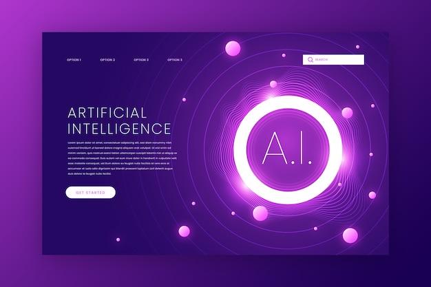 Strona Docelowa Sztucznej Inteligencji Premium Wektorów