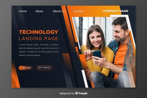 Strona docelowa technologii ze zdjęciem Darmowych Wektorów