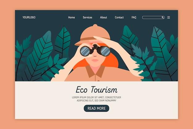 Strona Docelowa Turystyki Ekologicznej Darmowych Wektorów