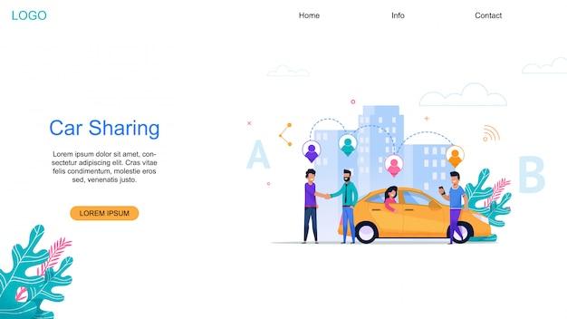 Strona docelowa udostępniania samochodu Premium Wektorów