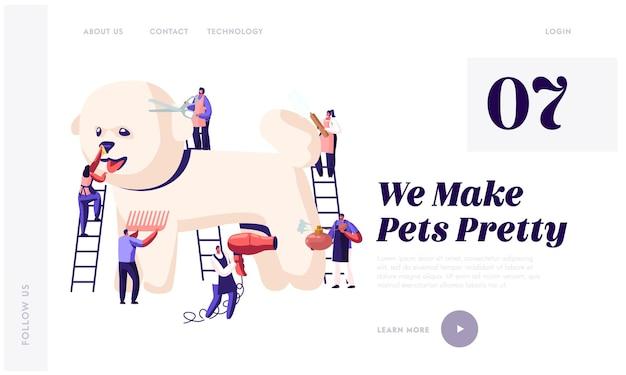 Strona Docelowa Witryny Salonu Fryzjerskiego Dla Zwierząt Premium Wektorów