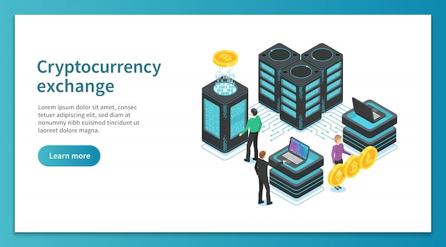 Strona docelowa wymiany kryptowaluty. ludzie wydobywają, wymieniają platformę kryptograficzną. rynek płatności internetowych jest izometryczny Premium Wektorów
