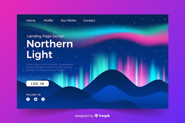Strona docelowa z jasnymi światłami północnymi Darmowych Wektorów