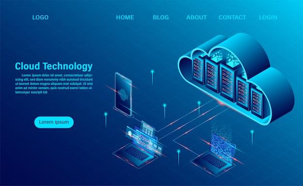 Strona Docelowa Z Koncepcją Cloud Computing. Technologia Obliczeniowa Online. Koncepcja Przetwarzania Dużych Przepływów Danych, Serwery 3d I Centrum Danych. Izometryczny Płaski Kształt Premium Wektorów