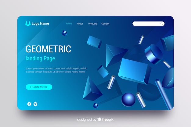 Strona docelowa z modelami geometrycznymi 3d Darmowych Wektorów