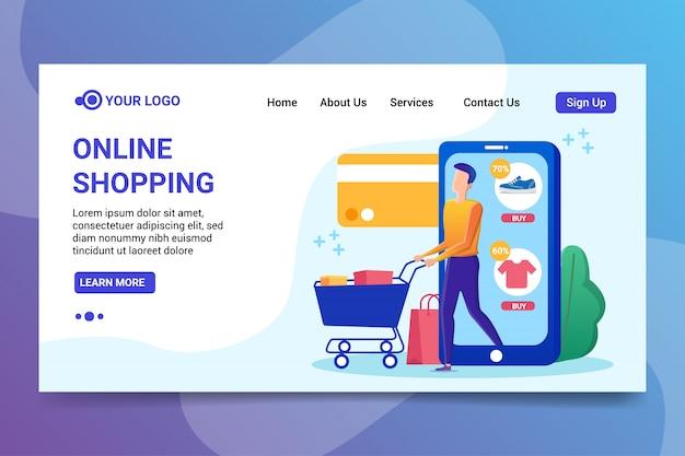 Strona Docelowa Zakupy Online Premium Wektorów