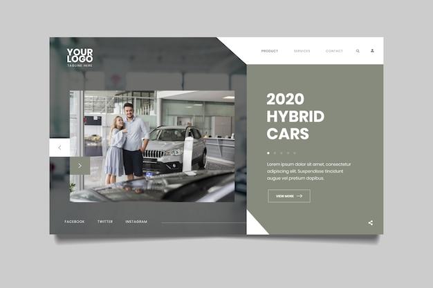 Strona Docelowa Ze Zdjęciem Samochodu I Pary Darmowych Wektorów