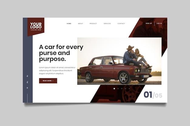 Strona Docelowa Ze Zdjęciem Samochodu Darmowych Wektorów