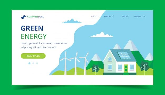 Strona docelowa zielonej energii Premium Wektorów