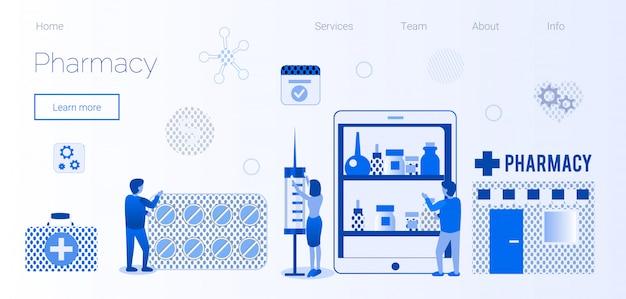 Strona E-commerce Apteki Z Płaskim Szablonem Strony Docelowej Premium Wektorów