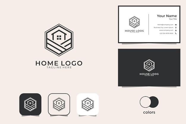 Strona Główna Z Logo Sztuki Linii Sześciokąta I Wizytówką Premium Wektorów