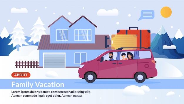 Strona Internetowa Banner Oferta Happy Family Winter Vacation Premium Wektorów