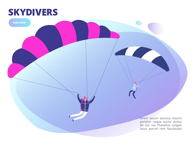 Strona Internetowa Kreskówka Skoczków Tło. Ilustracja Skoki Spadochronowe Premium Wektorów