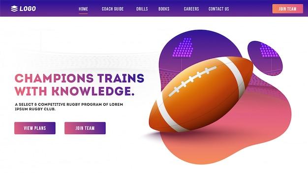 Strona Klubu Rugby. Premium Wektorów