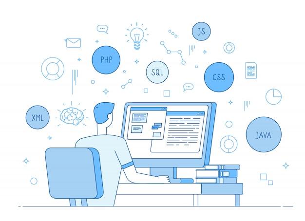Strona Kodująca Programistów. Koder Działa Na Javascript, Języku Programowania Kodu Php. Koncepcja Rozwoju Oprogramowania Premium Wektorów