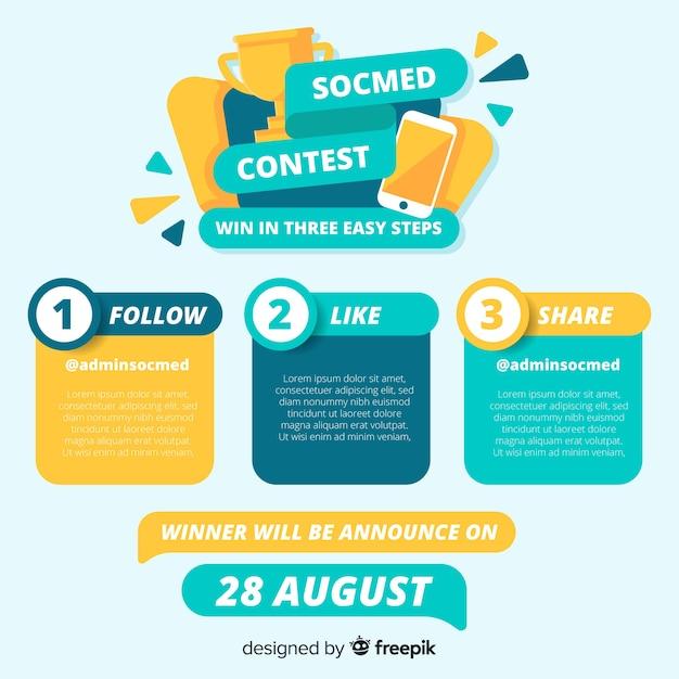 Strona konkursu na media społecznościowe Darmowych Wektorów