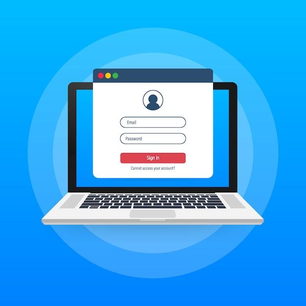 Strona Logowania Na Ekranie Laptopa. Notatnik I Formularz Logowania Online, Strona Logowania. Profil Użytkownika, Dostęp Do Koncepcji Konta Premium Wektorów