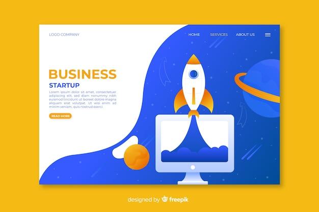 Strona startowa startowego biznesu ze statkiem kosmicznym i planetami Darmowych Wektorów
