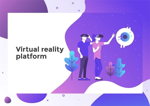 Strona Z Ilustracją Rzeczywistości Wirtualnej Premium Wektorów