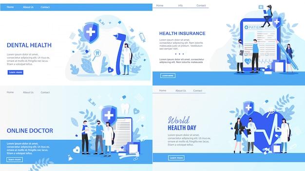 Strony Docelowe. Online Lekarz światowy Dzień Zdrowia Stomatologicznych Ilustracji Wektorowych Ubezpieczenia. Premium Wektorów