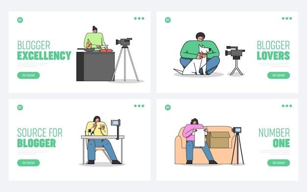 Strony Docelowe Vlogów Ustawiają Szablon Projektu Kreskówki Premium Wektorów