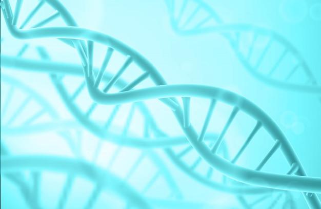 Struktura Dna. Streszczenie Tło Biotechnologii. Podwójna Helisa. Niebieski Kolor. Premium Wektorów