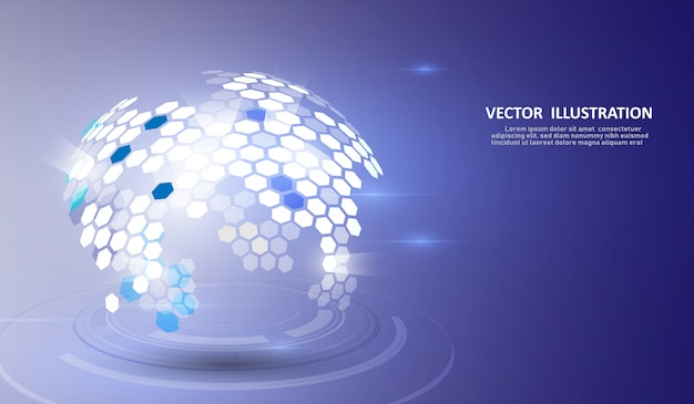 Struktura molekularna ukształtowała trójwymiarową ziemię i technologię. Premium Wektorów